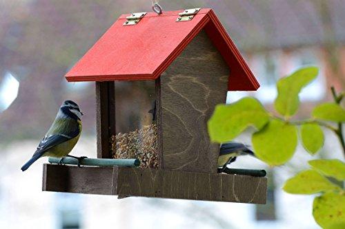 dobar 91108FSCe Futterspender Vogelhaus aus Holz für Wildvögel, 16 x 20 x 21 cm, rot / braun / grün - 3