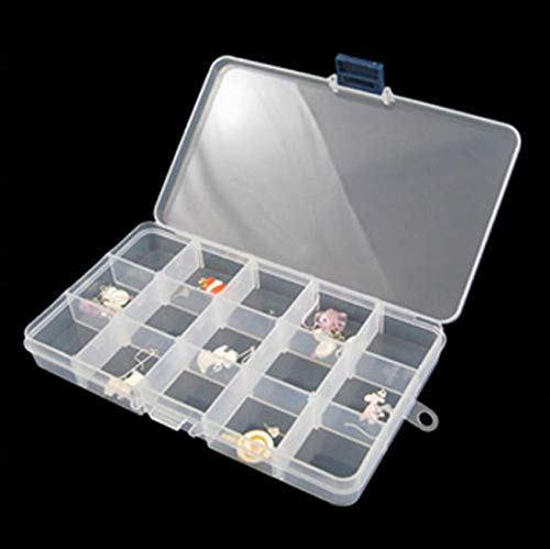 Caja de almacenamiento de plástico para almacenamiento con divisor, organizador ajustable, pastillas, joyería y arte de uñas, caja de almacenamiento de 15 rejillas (15 compartimentos, transparente)