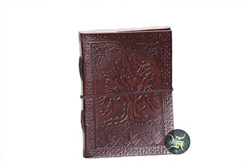 Fair Trade Handmade Eco Tree of Life Design Embossed Leather Journal Notebook by SLJB