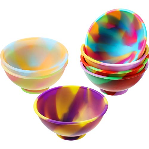 7 Pieces Mini Silicone Bowls Multicolored Pinch Bowls Reusable Snack Bowls Silicone Condiment Bowls for Sauce, Nuts, Candy, Fruits, Appetizer, Snacks (Mixed Color)