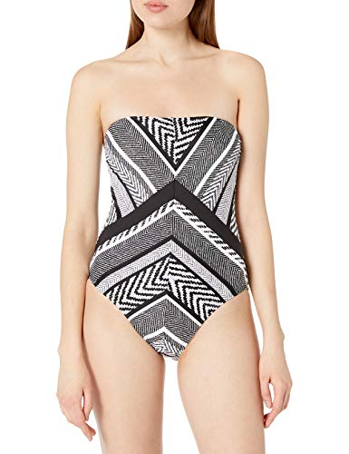 Kenneth Cole New York Women's Bandeau One Piece Swimsuit, Multi//Suit and Tie, XS