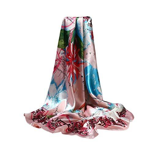 DEBAIJIA Donne Sciarpa Di Seta Grande Quadrato Testa Collo Sciarpe Leggero Neckerchief Avvolge Liscio Moda Crema Solare 90 X 90 cm