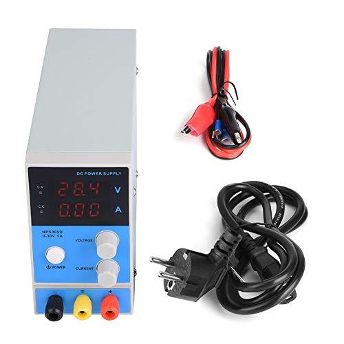 Akozon fuente de alimentación de CC regulada Fuente de alimentación de laboratorio 0-30V 0-5A Precisión Fuente de alimentación digital ajustable Pantalla de 3 dígitos 0.01A 0.1V(NPS305D)