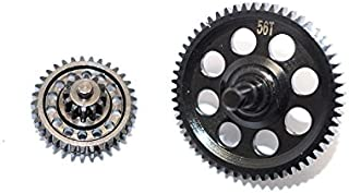 Thunder Tiger Kaiser XS Upgrade Parts Steel #45 Spur Gear 56T & Double Speed Reduction Gears - 2Pcs Set Black