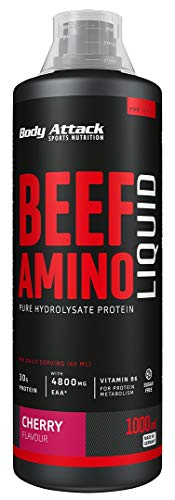 Body Attack Beef Amino Liquid Cherry- flüssiges Protein-Hydrolysat, 4800 mg EAAs, 2800 mg BCAAs, essentielle Aminosäuren vom Rind, plus Vitamin B6, aspartamfrei, Made in Germany (1000ml)