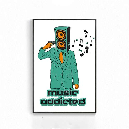 BGFDV Canvas painting coffee wall art retro music bar pop guitar rock poster record wall picture cafe living room mural decoration music blogger