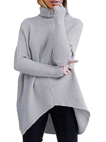 ANRABESS Women Oversized Cowl Neck Sweaters Long Sleeve Loose Fit Knitted High Low Pullover A87hui-S Grey