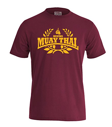 T-Shirt Muay Thai Boxing Hooligan Fighting MMA Boxen Sport (L, Bordeaux/Gelb)