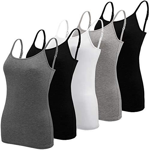 BQTQ 5 Piezas Camisetas de Tirantes Mujer Basicas con Tirantes Ajustables Camisetas sin Mangas para Mujer, Negro, Blanco, Gris, Gris Oscuro, S