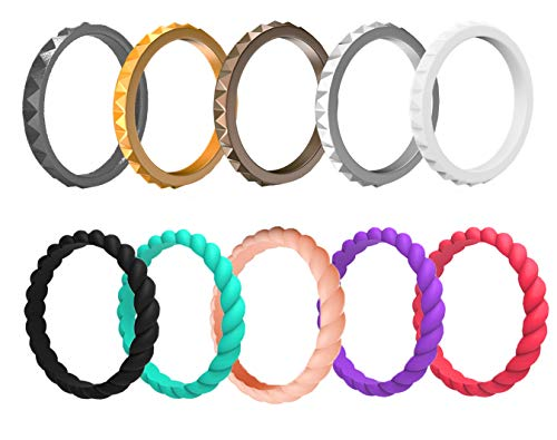 Arua Thin Silicone Wedding Rings for Women.10-Pack Stackable Silicone Rings, Diamond and Braided Pattern – Fashion Comfortable Rubber Wedding Bands - Size 6-6.5 (16.5mm Diameter)