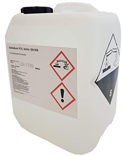 Salzsäure 30-31{c1232db1c9119f294bd8a830d36619bfa23418fd2405decffdba4b8bdffac391} technisch 5 Liter = 6 Kg UN1789