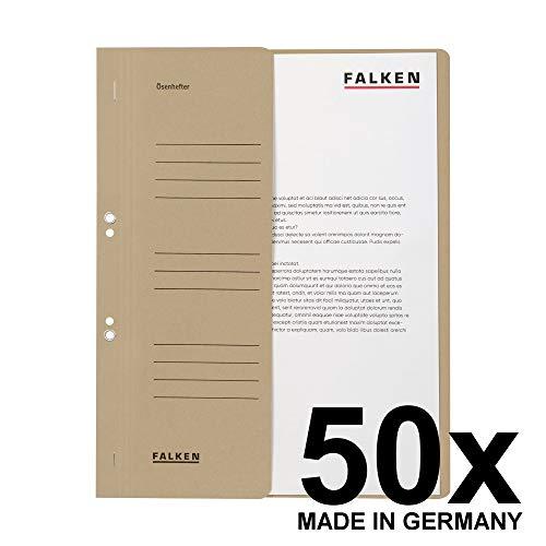 Original Falken 50er Pack Ösenhefter. Made in Germany. Aus Recycling-Karton mit halbem Vorderdeckel und kaufmännischer Heftung für DIN A4 grau Hefter Sammelmappe Blauer Engel