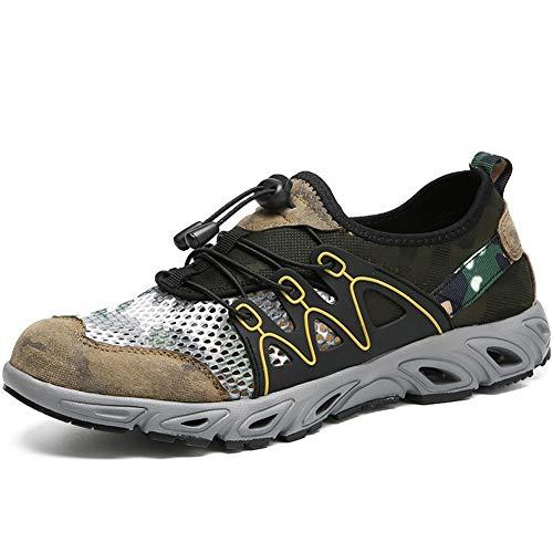 IENNSA Zapatos de Senderismo Zapatos de Escalada para Hombres Deporte Zapatillas de Deporte Encaje hacia Arriba Punta Redonda Malla Transpirable Casual Hecho a Mano Antideslizante Suela de Goma