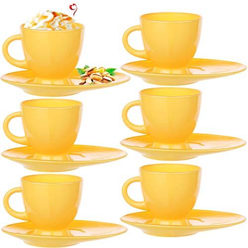 PLATINUX Kaffeetassen Teetassen mit Griff und länglicher Untertasse Set 6 Teilig Cappuccino Gläser Kaffeebecher Geschirrset Gelb