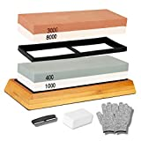 K Kwokker Sharpening Stone Set, 2 in 1 Whetstone for Professional Sharp Knives