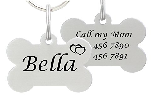 io tags Double Sided Laser Etched Stainless Steel Pet ID Tag for Dog Engraved and Personalized Bone Shape (Hearts)