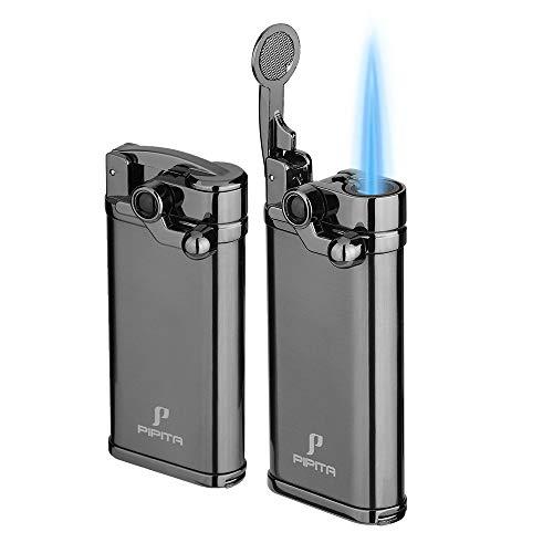 PIPITA Winddicht Zigarren Feuerzeuge Sturmfeuerzeug Jet Blauer Flammen Gas Nachfüllbar Metall Feuerzeuges mit Locher(2er-Pack)