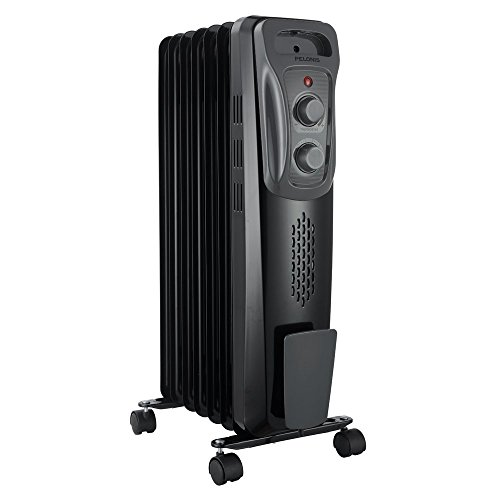 """PELONIS Basic Electric Oil Filled Radiator, 1500W Portable Full Room Radiant Space Heater with Adjustable Thermostat (25.2"""" Height), Black"""