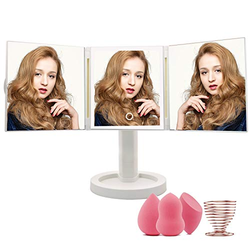 Makeup Mirror with Lights Vanity Mirror with 34 LED Lighted Mirror Touch Screen Dimming 360° Degree Rotation Cosmetic Mirror Dual Power Supply 3 Makeup Sponges 1 Makeup Sponge Holder
