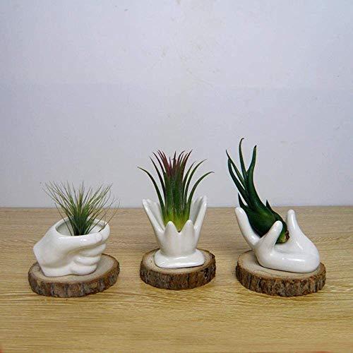 Pkfinrd Statue sculptuur ornament witte handen van keramiek plank voor bloemen kantoor decoratie bloempotten creatieve potten handen met houten pad, C