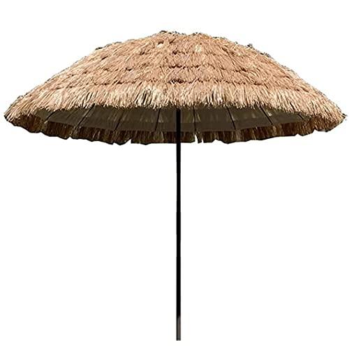 Ombrellone in Paglia Pieghevole,Tropical Spiaggia Hawaiana Paglia Ombrello Parasole Poliestere Anti UV,Esterna Impermeabile Ombra Sun per Garden Pool Patio Ombrelloni Rotonda con Tilt Funzione