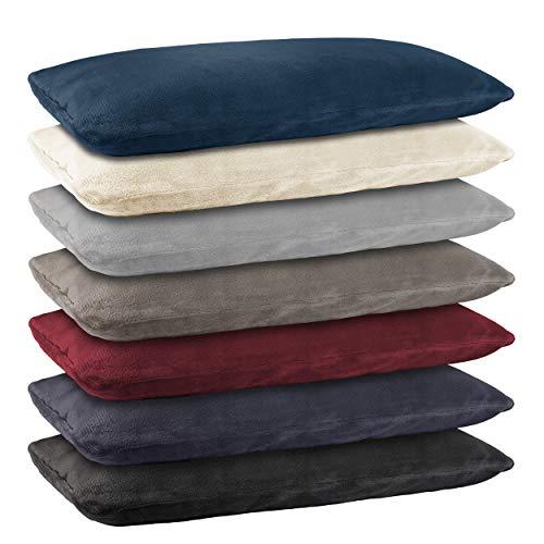 BaSaTex Doppelpack Cashmere Touch Kissenbezug, Kissenbezüge, Kissenhüllen 40x40 cm ähnlich Nicky Teddy Corals Fleece Grau