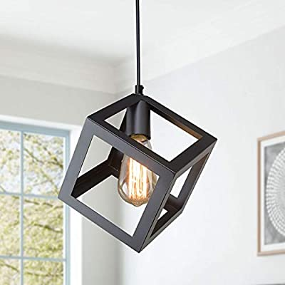 LNC Pendant Lighting for Kitchen Island Geometric Modern Hanging Ceiling Fixture, 6.3 inches, Matte Black