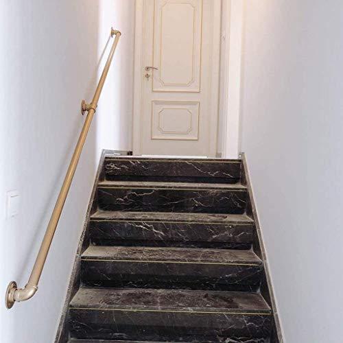 Treppengeländer Geländer, Industrie, Gold, Eisen Loft Rohrhandlauf for Treppen, Haus gegen die Wand Indoor Loft ältere Geländer Geländer Korridor Stützstange, Anpassbare Größe (Size : 150cm)