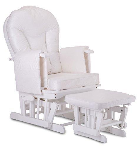 STODOMED Glider Stillstuhl Hocker in Weiß mit Schwingfunktion synchron verstellbare Lehne + Polster in Creme mit Baby-Bett Matratzenschutz 70x140 cm gratis!