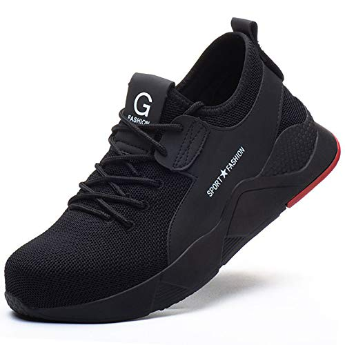 [ziitop] 安全靴 作業靴 メンズ レディース 鋼先芯(JIS H級相当) セーフティーシューズ スニーカー 黒 ワーキングシューズ 通気性 軽量 防臭 防滑 防刺 絶縁 23.0~29.0cm (ブラック, measurement_27_point