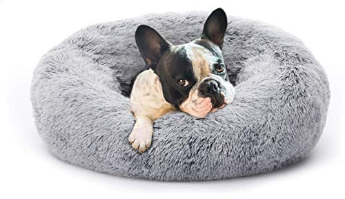 Fluffy Donut Cuddler Pet Bed, Cat and Dog Calming Indoor Cushion Bed with Non-Slip Bottom for Improved Sleep, Machine Washable Long Plush Soft Round Sofa Bed (Diameter: 23 inches (60cm), light gray)