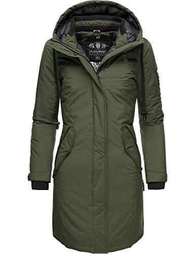 Navahoo Letiziaa winterjas voor dames, winterparka met capuchon, XS-3XL, groen, XL