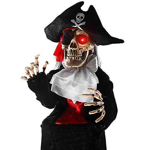 Halloween Decorations with Scary Captain Motion: Animatronic LED Light Up Eyes, Moving Arms & Head, Scary Halloween…