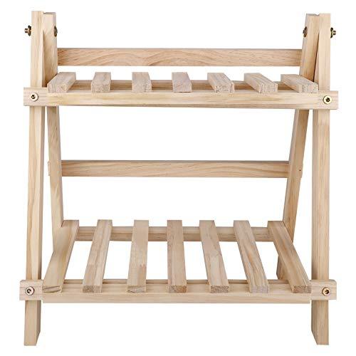 æ— - Scaffale per piante, in legno, a 2 livelli, scaffale per fiori per piante, mini scaffale verticale, organizer per piante da cucina e giardino
