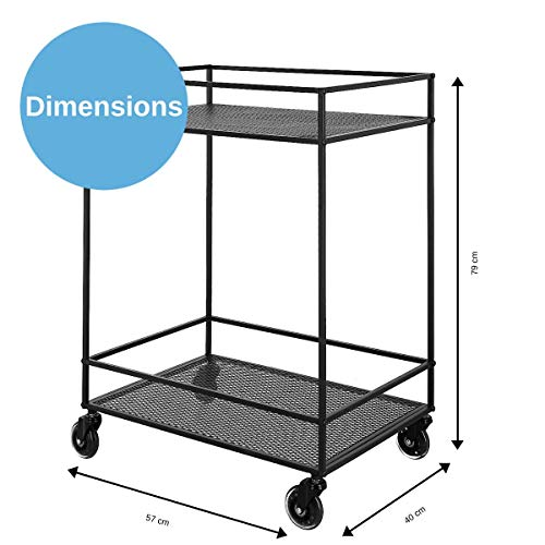 Clas Ohlson Plant Trolley Display Shelf, Drinks Serving Trolley, Metal Utility Storage Trolley on Wheels, Wire Mesh…