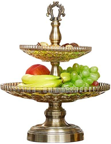 Support de stockage de bol de fruits à 2 couches, support de gâteau en métal de comptoir, support rond de Style vintage pour le rassemblement de famille d'anniversaire de mariage de gâteau aux fruits