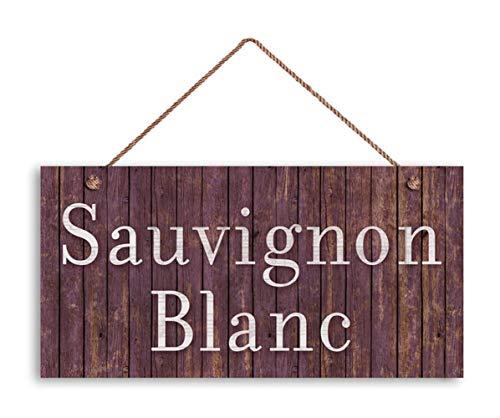 "MAIYUAN Sauvignon Blanc Wine Sign, Distressed Wood Style, 5""x10"" Tuscan Decor, Wine Bar Sign, Rustic Signs"