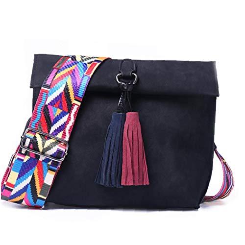 1pc Tassel Crossbody Bag Pu Leather Colorful Wide Strap Satchel Chic Vintage Style Sling Bag Casual Shoulder Bag for Women Girls(black)