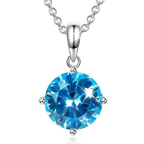 AVATAR Collar para Mujer 925 de Plata esterlina circonita Azul Regalos hipoalergénicos para Mujer niña Esposa Madre Novia Amigos su joyería cumpleaños Aniversario Boda