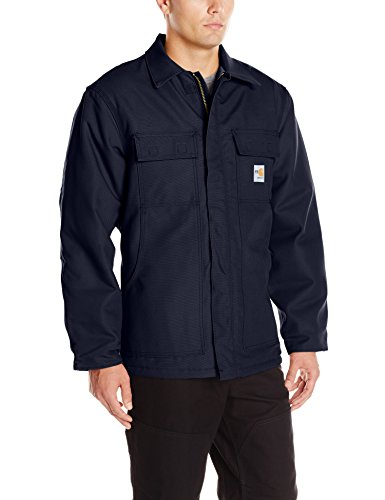 Carhartt Men's Flame Resistant Duck Traditional Coat, Dark Navy, Large