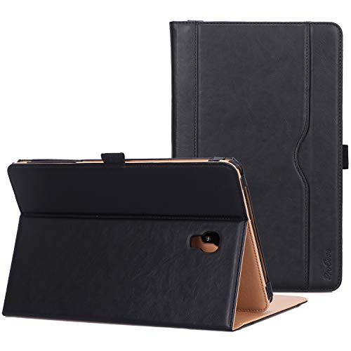 ProCase Galaxy Tab A 10.5 Folio Stand Case (SM-T590 / T595 / T597), Premium PU leather Smart Cover for Samsung Galaxy Tab A 10.5 2018, with Pen holder Document Card Pocket -Black