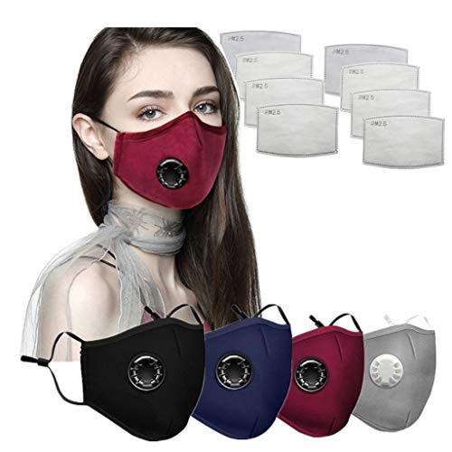 Reusable Face Dental Industrial Bandanas, with Breathing valve and Disposable Filter Pads (4+8PC)