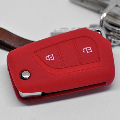 Soft Case Schutz Hülle Auto Schlüssel für Toyota Aygo Citroen C1 Peugeot 108 / Farbe: Rot