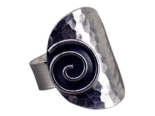 NicoWerk Silberring Gehämmert Breit Vintage Spiral Ring Silber 925 Verstellbar Damenringe Damen Schmuck SRI237