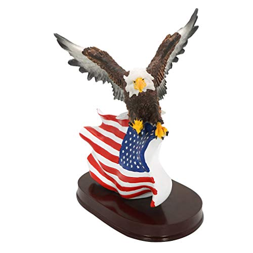 DreamsEden Bald Eagle American Flag Figurine Statue - Modern Patriotic Eagle Scout Trophy Gifts Table Wall Decorations for Boys Man