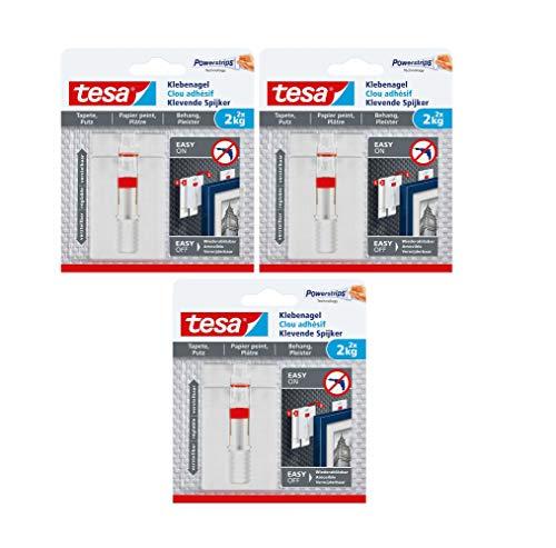 tesa Verstellbarer Klebenagel (für Tapeten und Putz 2 kg, Höhenverstellbarer, selbstklebender Wandnagel (2 kg | 6 Nägel)