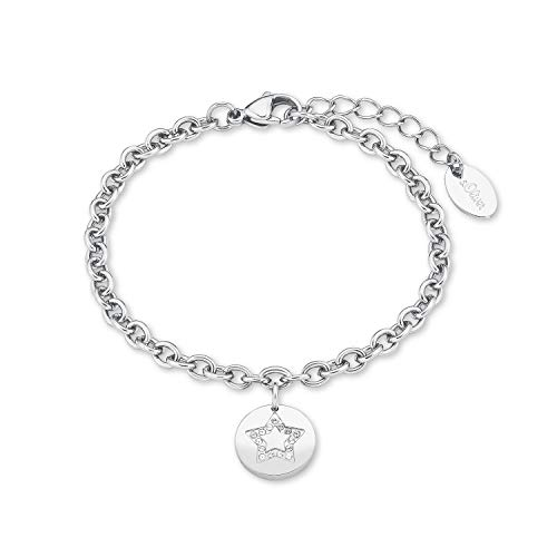 s.Oliver Armband für Damen, Edelstahl, Glas Stern