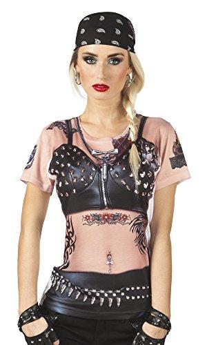 Boland 10118098 Photorealistisches Shirt Lady Rider, womens, schwarz/pink, M