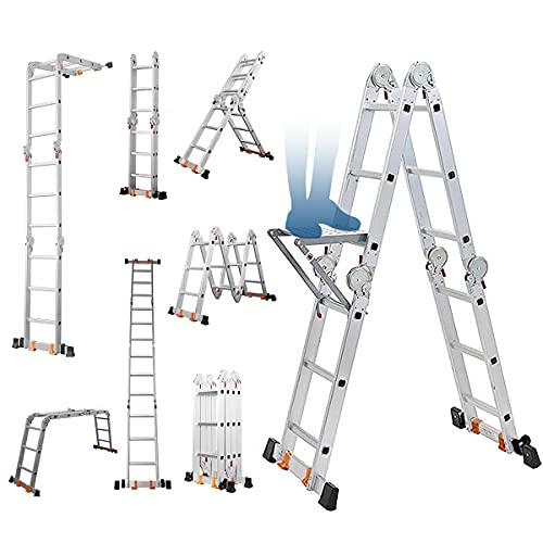 Kingdely はしご 脚立 3.6m アルミ 折りたたみ 3段 4段 5段 ワンタッチロック式 安全 軽量 コンパクト 専用プレート付き ラダー付き 多機能 兼用 足場 洗車台 踏み台 屋根用 室内 屋外おしゃれ