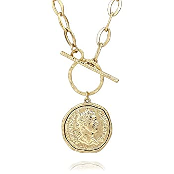Pomina Trendy Fashion Gold Chunky Thick Link Chain Necklace Medallion Chunky Antique Coin Pendant Toggle Necklace for Women Men Teen  Worn Gold